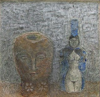 Hope Brooks; Terracotta Head and Blue ..., 2007, Original Mixed Media, 18 x 18 inches. Artwork description: 241  One of a suite of six still life's painted for the Sea View Gallery in 2007 the painting has a textured surface using modeling paste gouache and pencil.  The objects are by Colin Garland the Jamaican/ Australian artist who died in 2007.  The painting is on ...