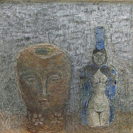 Hope Brooks, , , Original Mixed Media, size_width{Terracotta_Head_and_Blue_Bottle-1241383548.jpg} X 18 inches