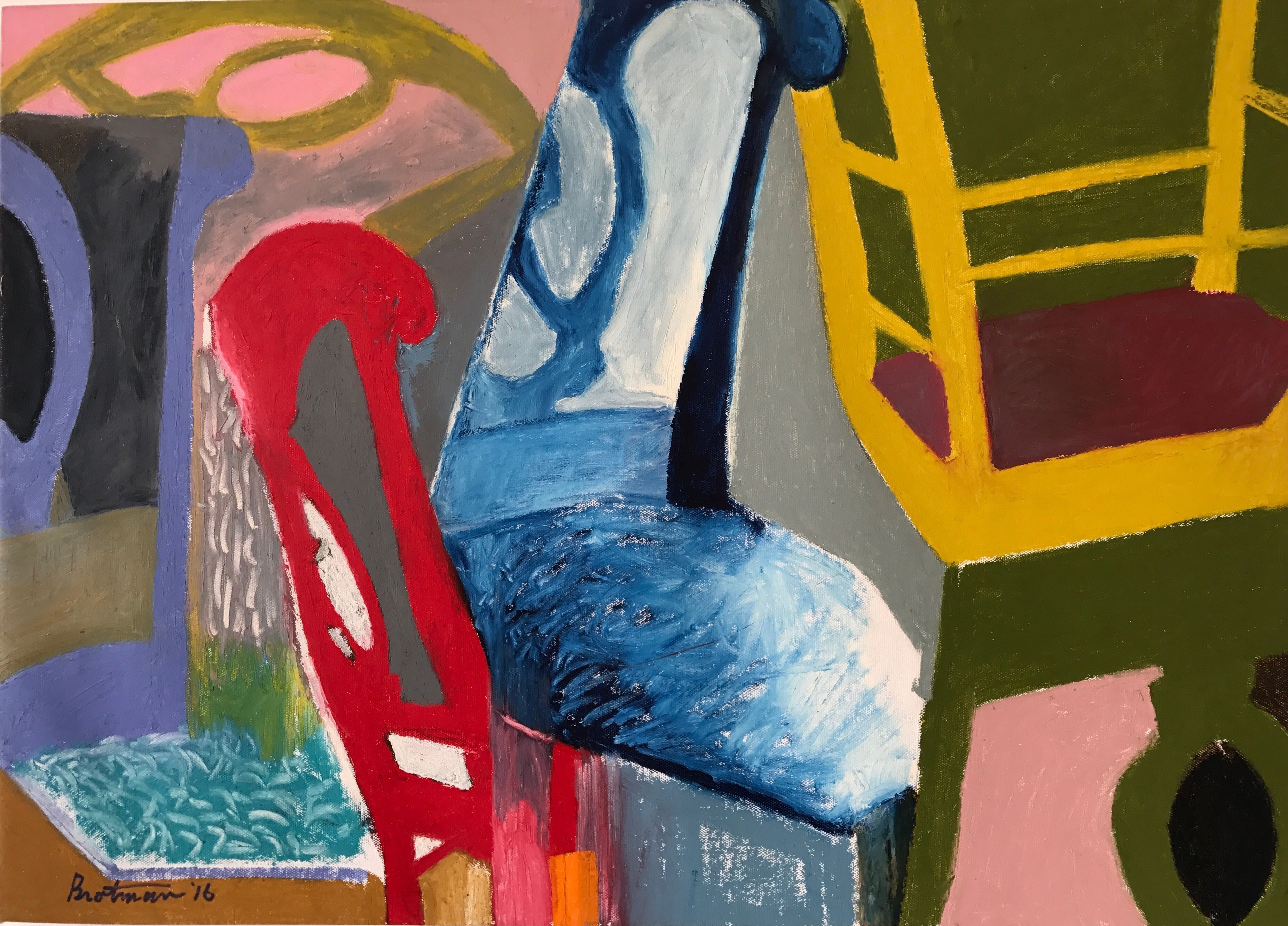 Howard Brotman; Russian Roulette, 2016, Original Painting Oil, 28 x 20 inches. Artwork description: 241 Russian Roulette - - Playing with positive and negative space, the chair acts as the vehicle in this piece.  The basic colors of blue, red and yellow contrast against the action and movement of the forms.  Note, in the room simulation image the ratio of the art to the ...