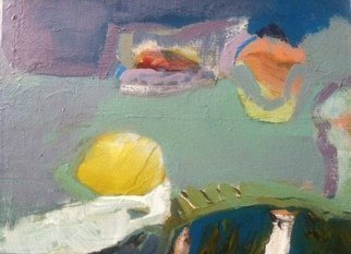 Howard Brotman; Landscape With Lemon, 2014, Original Painting Oil, 12 x 9 inches. Artwork description: 241 Landscape with lemon - - Oil enamel on loose canvas, painted up to edge.  Painting created through the imagination.  Landscape water tension minimal mystery. ...