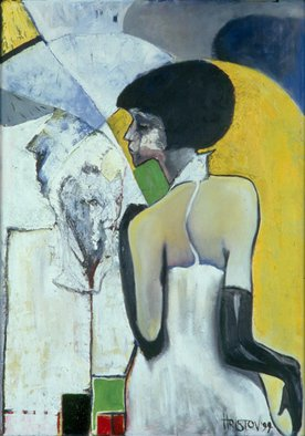 Vladimir Hristov; Bar Girl, 1999, Original Painting Acrylic, 77 x 107 cm. Artwork description: 241  www. hristov. nl ...