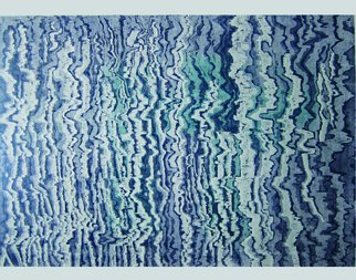 Lijing Liu; Reflection Of Trees, 2009, Original Printmaking Woodcut, 115 x 78 cm. Artwork description: 241  blue, Natural, LifePS!EcologyPS!BeautifulPS!adornmentPS!Life, Inverted imagePS!coloured wood- cutPS!Reflection in the waterPS!color process  ...