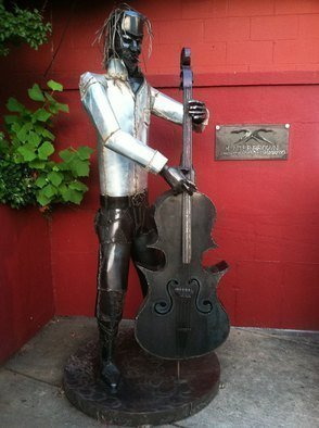 Hunter Brown; Bigger Bass, 2013, Original Sculpture Steel, 4 x 8.5 feet. Artwork description: 241  Free standing figure playing stand up bass.  ...