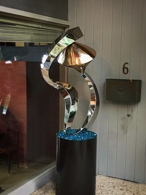 Hunter Brown; Celestial, 2019, Original Sculpture Steel, 30 x 78 inches. Artwork description: 241 Contemorary sculpture design, constructed in 316 stainless steel and bronze, with mirror polished finish. The piece is approx 4 H and is mounted on 30  steel base. The sculpture is suitable for interior and exterior placement. ...