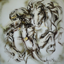 Artist: Hyacinthe Kuller-Baron's, title: CASSANDRA and WHITE HORSE, 1980, Painting Oil