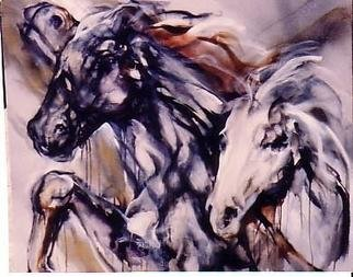 Hyacinthe Kuller-Baron; DARKWIND STALLION, 2008, Original Printmaking Giclee - Open Edition, 24 x 36 inches. Artwork description: 241 2X3signed on canas or paper with hand touches. Original painting in oil on canvas 4x4 in the Whitney Collection. ...
