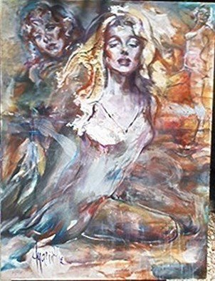 Hyacinthe Kuller-Baron; Marilyn True, 2007, Original Painting Oil, 36 x 48 inches. Artwork description: 241  MARILYN TRUE or MARILYN AS THE MADONNA OF THE GOLDEN HOOD is one of a tryptych revealing Marilyn in her personna as the golden woman archetype. This painting is a study for the larger work. ...
