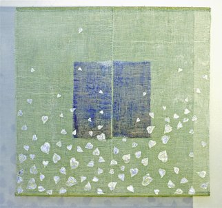 Hye Shin; Floating Over The Sea, 2005, Original Fiber, 70 x 70 inches. Artwork description: 241  Fiber wall hanging, linen, paper, and paint on surface. light and shadow have to be engaged for better viewing. ...