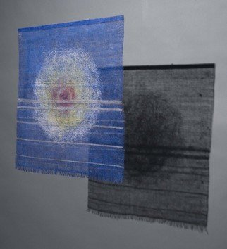 Hye Shin; Sketches On Blue Shadow , 2010, Original Fiber, 30 x 30 inches. Artwork description: 241  Woven fiber wall- hanging shows the abstract image derived from atmospheric landscape.  ...
