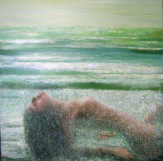 Irena Dukule; Waiting For Waves, 2007, Original Painting Oil, 90 x 76 cm.