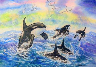 Igor Moshkin; A Flock Of Killer Whales, 2010, Original Watercolor, 60 x 45 cm. Artwork description: 241 watercolor, paper, wildlife, green and blue,  A flock of killer whales , the sea. killer whales, storm, waves, gulls...