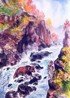Igor Moshkin; Bear In The Waterfall, 2002, Original Watercolor, 32 x 40 cm. Artwork description: 241 watercolor, paper, wild nature, green and blue,  Bear in the waterfall , bear. waterfall, stones, autumn...
