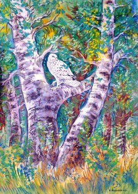 Igor Moshkin; Falcon On The Birch, 2005, Original other, 40 x 50 cm. Artwork description: 241 watercolor, paper, wildlife, green and blue, Falcon on the Birch , summer, forest landscape, grass, birch trees...