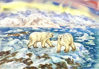 Igor Moshkin; Polar Bears In The Arctic, 2010, Original Watercolor, 60 x 45 cm. Artwork description: 241 watercolor, paper, wildlife, green and blue,  Polar bears in the Arctic , summer, north, mountains, bears, seascape, ice...
