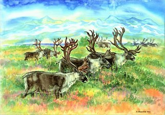 Igor Moshkin; Reindeers In The Arctic, 2008, Original Watercolor, 60 x 45 cm. Artwork description: 241 watercolor, paper, wildlife, green and blue,  Reindeers in the Arctic , summer, north, forest landscape, grass, mountains, glacier...