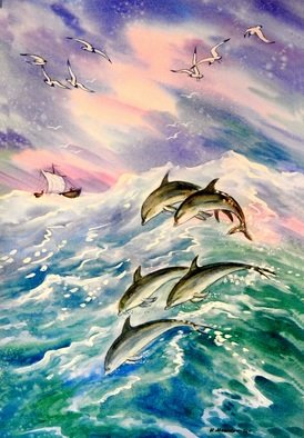 Igor Moshkin; Sea And Dolphins, 2004, Original Watercolor, 45 x 60 cm. Artwork description: 241 watercolor, wildlife, lilac and blue,  Sea and dolphins , storm, waves, sailfish, clouds in the sky...
