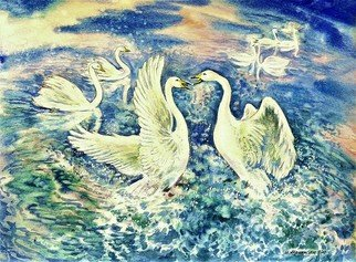 Igor Moshkin; Swans In The Arctic, 2005, Original Watercolor, 46 x 36 cm. Artwork description: 241 atercolor, paper, wildlife, green and blue, Swans in the Arctic, summer, north, seascape, wild birds, swans...