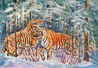 Igor Moshkin; Tigers In The Winter Forest, 1998, Original Watercolor, 35 x 45 cm. Artwork description: 241 watercolor, paper, wildlife, green and blue,  Tigers in the winter forest winter, forest, orange tiger, wild cat...