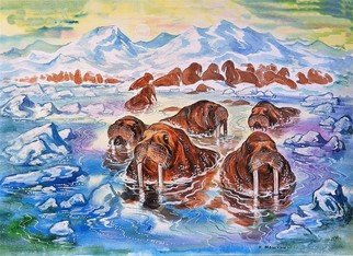 Igor Moshkin; Walrus In The Arctic, 2009, Original Watercolor, 60 x 45 cm. Artwork description: 241 watercolor, paper, wildlife, green and blue, Walrus in the Arctic, summer, north, seascape, walruses. pinnipeds, ice, sea, mountains...