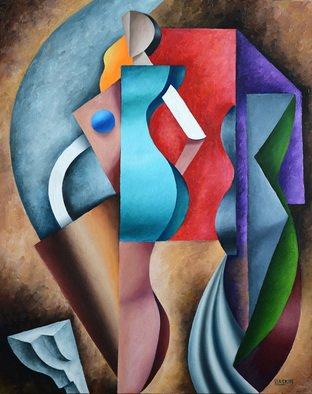 Irina Laskin; Segmentation, 2015, Original Painting Oil, 24 x 30 inches. Artwork description: 241    Cubism, women, shapes, architectural detail colorful, shades, drapes,   ...