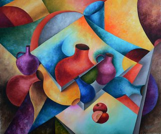 Irina Laskin; Still Life 1, 2015, Original Painting Oil, 30 x 36 inches. Artwork description: 241      Fine art, cubism, shapes, jugs,apples, pitchers, contemporary, shadow and lights    ...