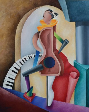 Irina Laskin; The Creative, 2015, Original Painting Oil, 24 x 30 inches. Artwork description: 241   Cubism, women, shapes, architectural detail colorful, shades, drapes, music, piano ...