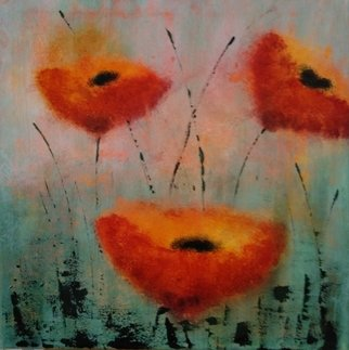 Iliana Ovtcharova; Poppies, 2019, Original Painting Acrylic, 40 x 40 cm. Artwork description: 241 Acrylics on streched canvas...