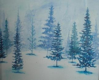 Eve Co, 'Blue Christmas 2', 2008, original Watercolor, 9 x 12  inches. Artwork description: 1911 Blue Christmas # 2 - 2008Water Color - Black Frame under Glass.Blue and white watercolor study of trees in fog and snow.  Small painting with watercolors only.  Hidden items in painting are 13 hearts, a bird, the words God and Jesus.  Private collection.   ...
