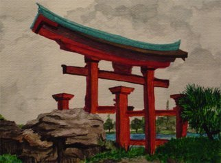 Eve Co, 'Lone Pagoda Two', 2007, original Watercolor, 13 x 20  x 1 inches. Artwork description: 1911  Lone Pagoda TwoWindsor & Newton WatercolorsStrathmore Watercolor Paper ...