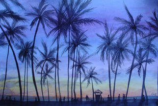 Eve Co; Sunset Gathering, 2010, Original Watercolor, 10 x 15 inches. Artwork description: 241  Sunset Gathering - Watercolor of Waikiki.  This painting was bartered for automobile work.   Thank you for viewing my artwork. Peace and Love.   ...