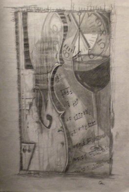 Eve Co; Violin Shadows, 2011, Original Drawing Pencil, 12 x 18 inches. Artwork description: 241 Title Violin ShadowsCompleted 01022011Size 12 x 18GraphiteAbstract shapes, dark, penciled and graphite drawing.  Each shape melds into the other.  School clock, wine glass, violin, and sheet music. ...