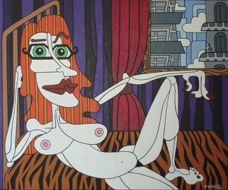 Rafael Inacio; Mature Woman In An Intima..., 2006, Original Painting Acrylic, 120 x 100 cm.