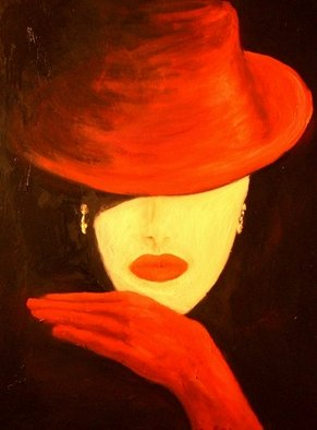 Birgit Schnapp; Red Hat And Red Gloves, 2009, Original Painting Oil, 80 x 60 cm. Artwork description: 241  Lady in Red  ...