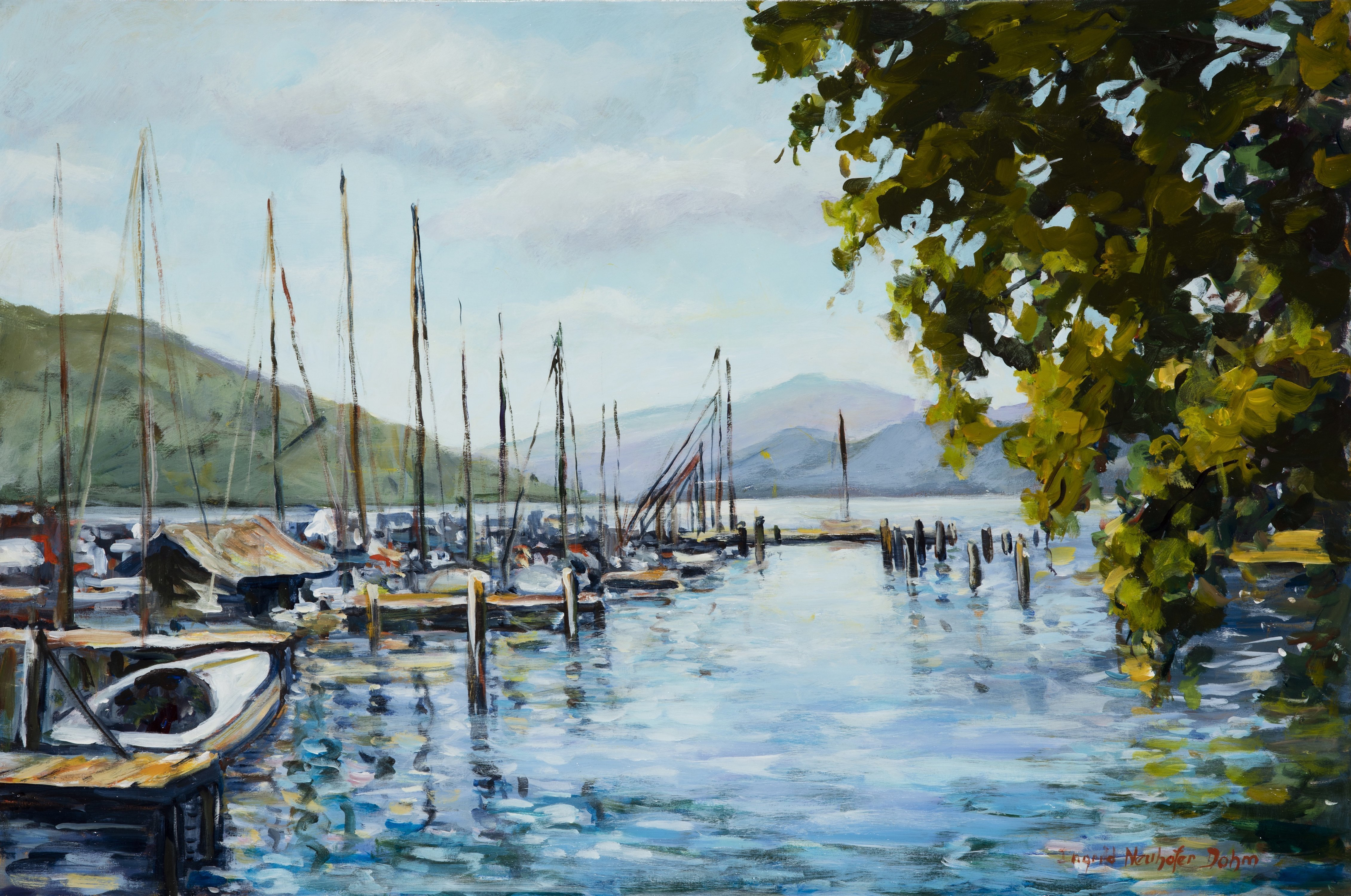 Ingrid Neuhofer Dohm; Attersee Austra, 2013, Original Painting Acrylic, 36 x 24 inches. Artwork description: 241  Austria, Attersee. lake, impressionism, representational decorative, contemporary, traditional, IngridDohm, fine artist, fine art, original, ...
