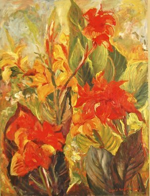 Ingrid Neuhofer Dohm; Canna Lilies, 2013, Original Painting Acrylic, 40 x 30 inches. Artwork description: 241      acrylic, canvas, still life, floral, flowers, impressionism, representational, decorative, contemporary, traditional, Ingrid Dohm, fine artist, fine art, original    ...