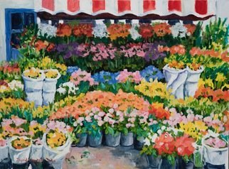 Ingrid Neuhofer Dohm; Flower Stand, 2012, Original Painting Acrylic, 30 x 22 inches. Artwork description: 241 flowers, floral, street stand, representational...