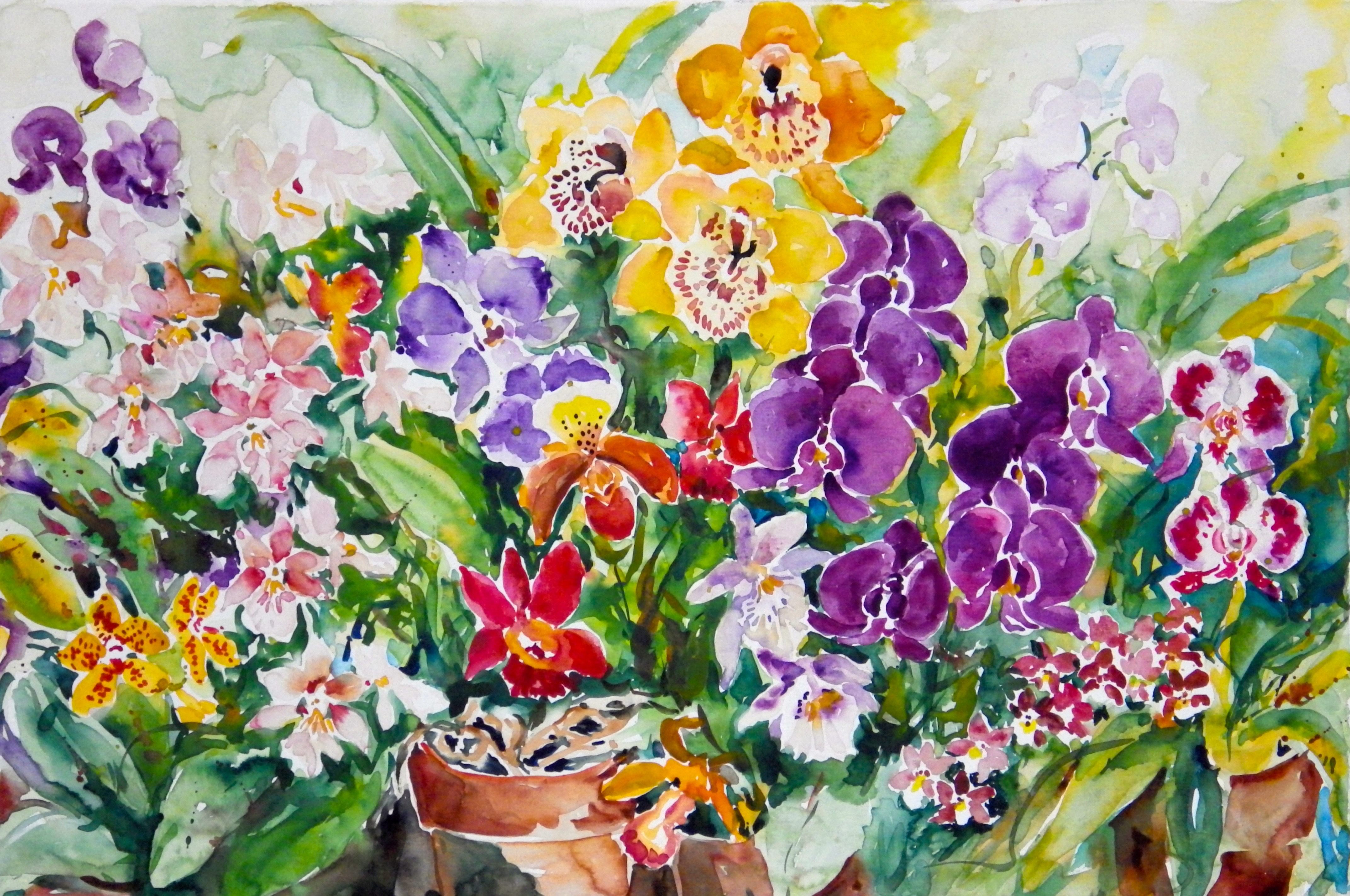 Ingrid Neuhofer Dohm, Orchids I, 2014, Original Watercolor, size_width{Orchids_I-1390656655.jpg} X 22 x  inches