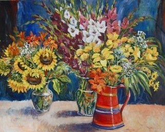 Ingrid Neuhofer Dohm; Red Pitcher, 2011, Original Painting Acrylic, 48 x 60 inches. Artwork description: 241  acrylic, canvas, still life, flowers, floral, representational, traditional, contemporary, impressionism, decorative, painterly, fine artist, Ingrid Dohm,  ...