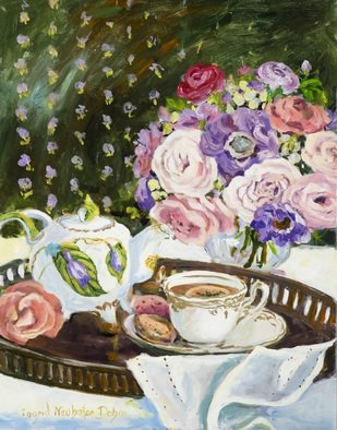 Ingrid Neuhofer Dohm; Afternoon Tea, 2016, Original Painting Acrylic, 24 x 30 inches. Artwork description: 241 This is an original acrylic on canvas floral still life painting 30 x 24 inches. ...
