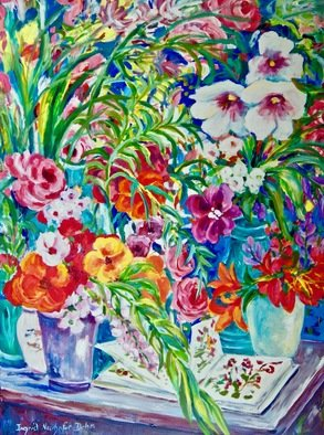 Ingrid Neuhofer Dohm; Floral Arrangement, 2018, Original Painting Acrylic, 30 x 40 inches. Artwork description: 241 This i an original acrylic on canvas floral still life painting 40 x 30 inches. ...