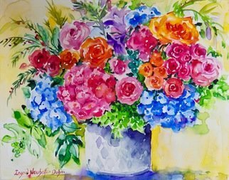Ingrid Neuhofer Dohm; Floral Manage, 2018, Original Watercolor, 20 x 16 inches. Artwork description: 241 This is an original watercolor on canvas floral still life painting 16 x 20 inches. ...