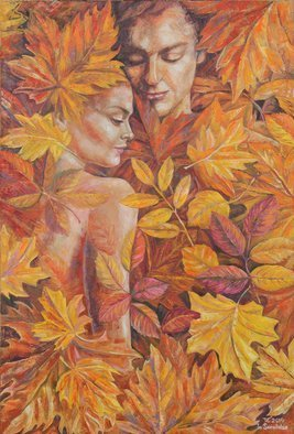 Ia Saralidze; Autumn For A Two, 2014, Original Painting Oil, 42 x 72 cm. Artwork description: 241 Autumn, love, he and she, leaves, abstraction...