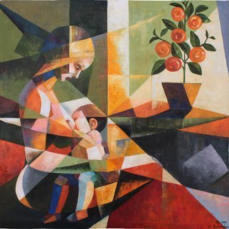 Ia Saralidze; Great Happiness, 2016, Original Painting Oil, 70 x 73 cm. Artwork description: 241  cubism , realism,life, baby, mother, ...