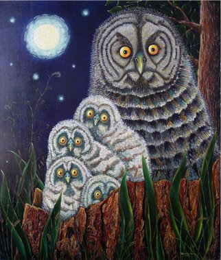 Alfred Shaimordanov; Waiting, 2001, Original Painting Oil, 94 x 100 cm. Artwork description: 241  owl, family , nature, night, moon, stars, meaning of life, wait, love...