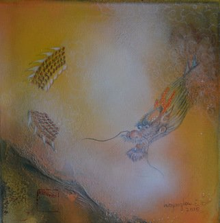 Inn-Yang Low E.h.; Dragon Looking Out The Fi..., 2015, Original Mixed Media, 30 x 30 inches. Artwork description: 241 lacrylique, Canvas...