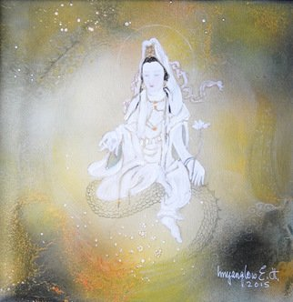 Inn-Yang Low E.h.; Just A Praying Peace, 2015, Original Mixed Media, 30 x 30 inches. Artwork description: 241 lacrylique, Canvas...