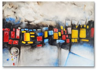 Ioannis Tsaousidis; Unregulated City, 2005, Original Painting Acrylic, 40.9 x 28.9 inches.