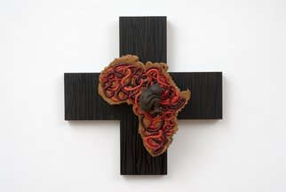Irene Gennaro; Sudan, 2008, Original Sculpture Wood, 22 x 22 inches. Artwork description: 241  Impermanence Series. The Impermanence Series is the latest group I have created. It incorporates the iconic crucifix with anatomical attributions.