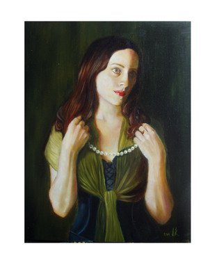 Irina Kharchenko; Lady With Pearls, 2004, Original Painting Oil, 14 x 18 inches. Artwork description: 241  Oil on wood ...