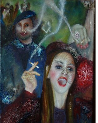 Irina Kharchenko; Smoking Party, 2006, Original Painting Oil, 11 x 14 inches. Artwork description: 241  Oil on canvas ...